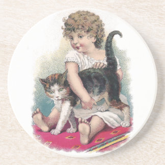 Girl Gets Grip on Kitty Drink Coasters