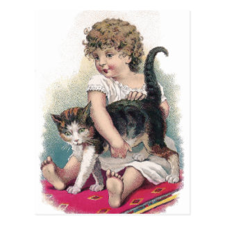 Girl Gets Grip on Kitty Postcard