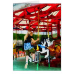 Girl Getting on Merry-Go-Round Greeting Card