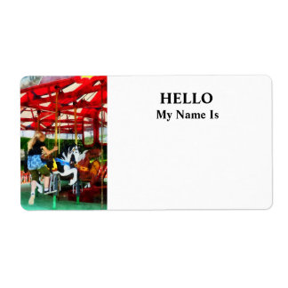 Girl Getting on Merry-Go-Round Shipping Label