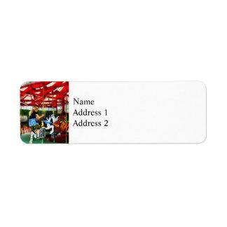 Girl Getting on Merry-Go-Round Return Address Label