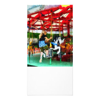 Girl Getting on Merry-Go-Round Personalized Photo Card