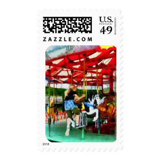 Girl Getting on Merry-Go-Round Postage