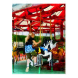 Girl Getting on Merry-Go-Round Postcard