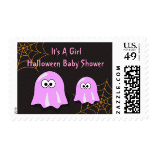 Girl Ghost Halloween Baby Shower Postal Stamps