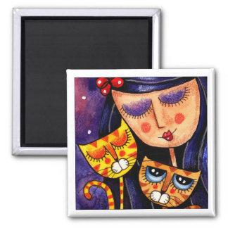 Girl & Ginger Cats - Magnet 2
