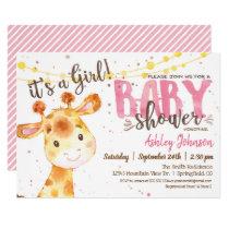 Girl Giraffe Baby Shower invitation