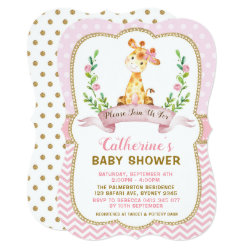 Girl Giraffe Baby Shower Pink & Gold Invitation