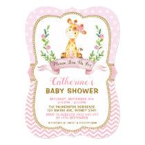 Girl Giraffe Baby Shower Pink & Gold Invitation