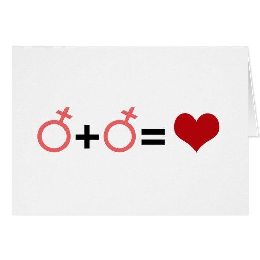 GIRL + GIRL = LOVE GREETING CARDS