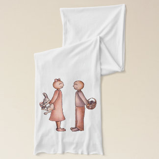 Girl Giving Boy Easter Bunny with Easter Egg Scarf
