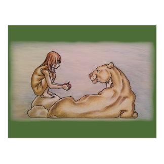 Girl Giving Lion Apple Postcard