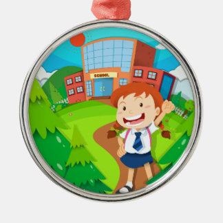 Girl going to school metal ornament
