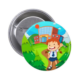 Girl going to school pinback button