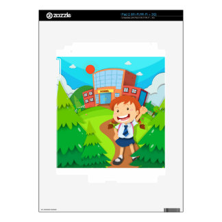 Girl going to school skin for iPad 2
