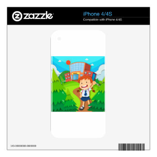 Girl going to school skin for iPhone 4