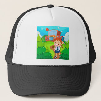 Girl going to school trucker hat