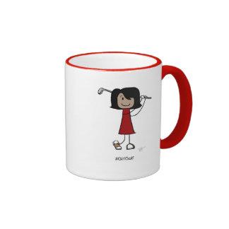 Girl Golfer, Black Hair 11 oz Ringer Mug