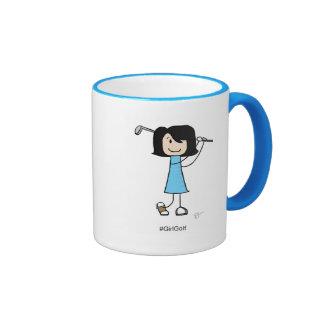 Girl Golfer, Black Hair - 11 oz Ringer Mug