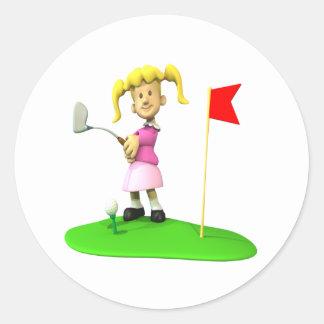 Girl Golfer Classic Round Sticker