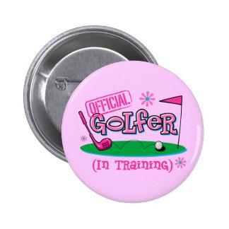 Girl Golfer In Training 2 Inch Round Button