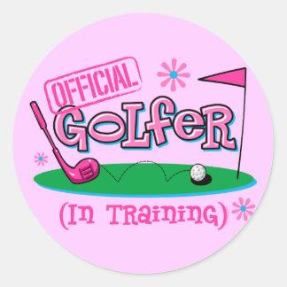 Girl Golfer In Training Classic Round Sticker