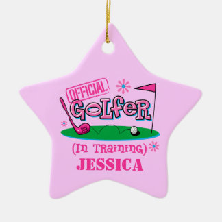 Girl Golfer In Training Personalized Ornament