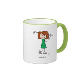 Girl Golfer, Redhead 11 oz Ringer Mug