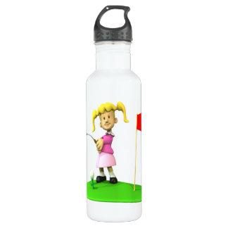 Girl Golfer Stainless Steel Water Bottle