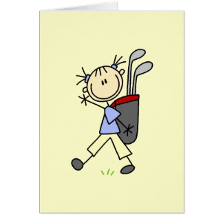 Girl Golfer With Bag and Clubs Card