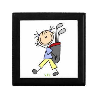 Girl Golfer With Bag and Clubs Gift Box