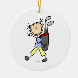 Girl Golfer With Bag and Clubs Ornament