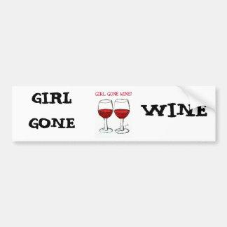 """""""GIRL GONE WINE"""" FUN WINE PRINT CAR BUMPER STICKER"""