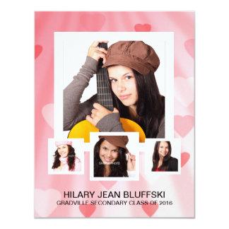 "Girl Grad Pink Hearts with 4 Photos 4.25"" X 5.5"" Invitation Card"