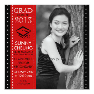 Girl Grad Red and Black Large Photo Graduation Card