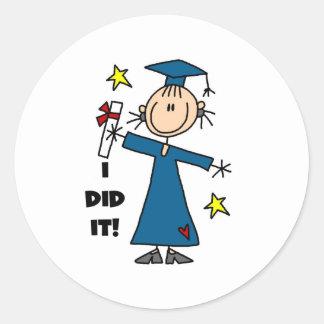 Girl Graduate Classic Round Sticker