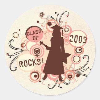 Girl Graduation 2009 Grad Classic Round Sticker