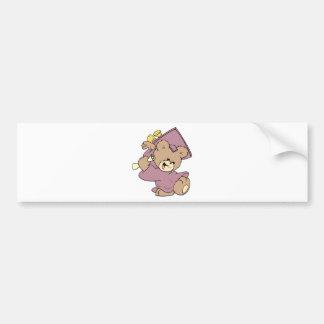 girl graduation cute teddy bear design bumper sticker