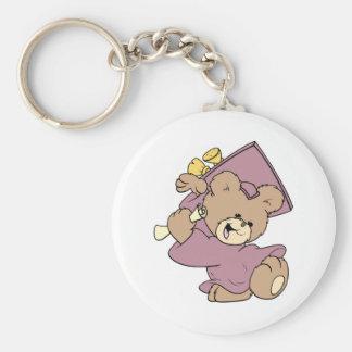 girl graduation cute teddy bear design keychain