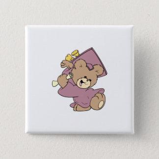 girl graduation cute teddy bear design pinback button