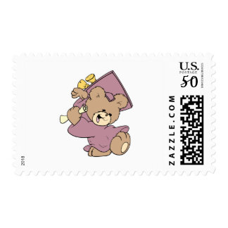 girl graduation cute teddy bear design postage
