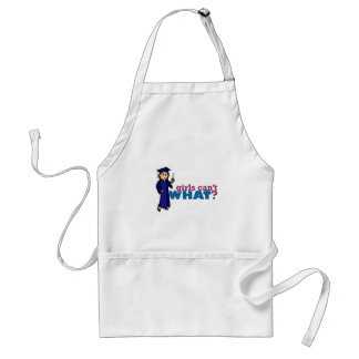 Girl Graduation in Blue Gown Adult Apron