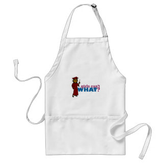 Girl Graduation in Red Adult Apron