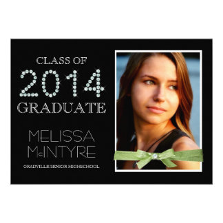 Girl Graduation Photo and Faux Bling 2014 Personalized Invitations