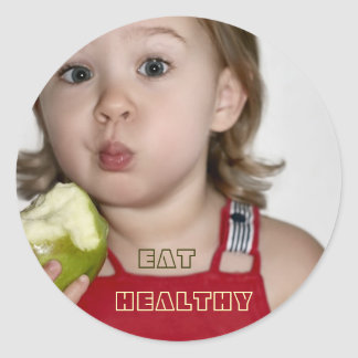 Girl & Green Apple, Eat Healthy Stickers