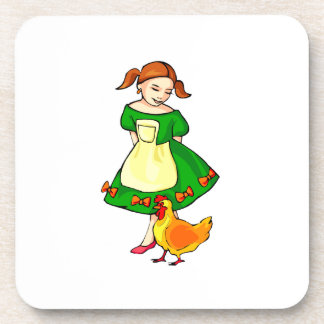 girl green dress standing chicken at feet beverage coaster