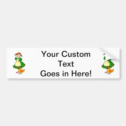 girl green dress standing chicken at feet car bumper sticker