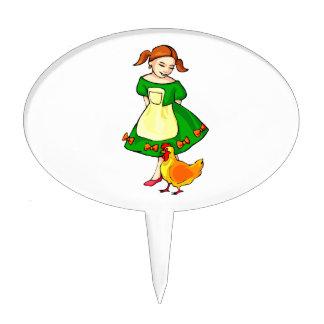 girl green dress standing chicken at feet cake topper