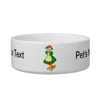 girl green dress standing chicken at feet cat water bowl