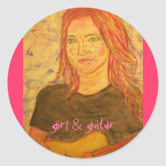girl & guitar classic round sticker